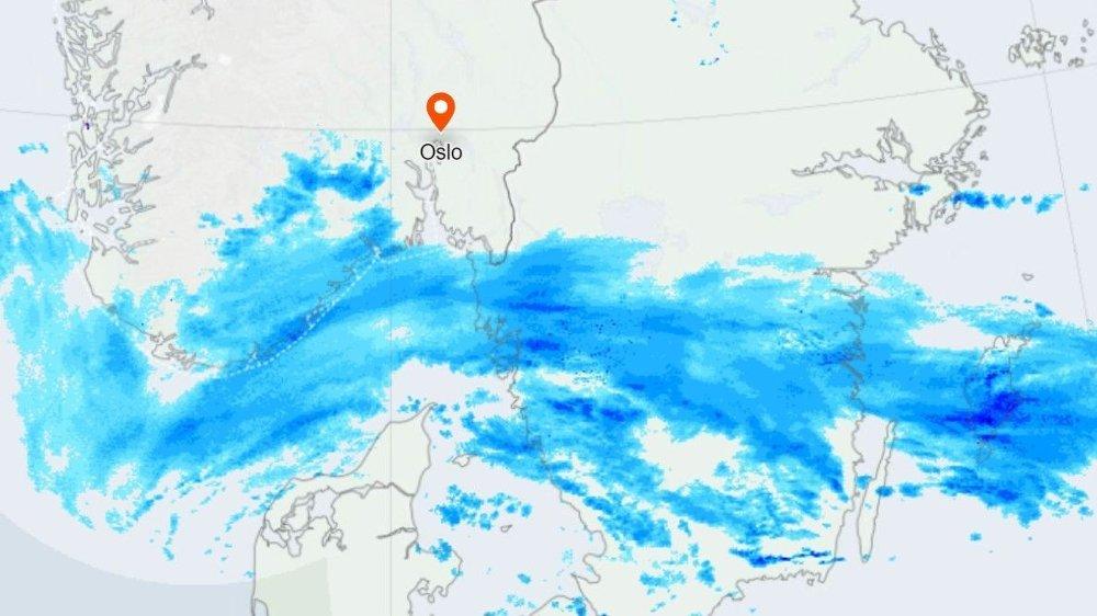 Klikk på bildet for å forstørre. NEDBØRSKART: På nedbørskartet på yr.no kan du se hvor det har kommet regn, sludd eller snø de siste 90 minuttene og hvor det er ventet de neste 90 minuttene. Slik var bildet tirsdag klokka 12.