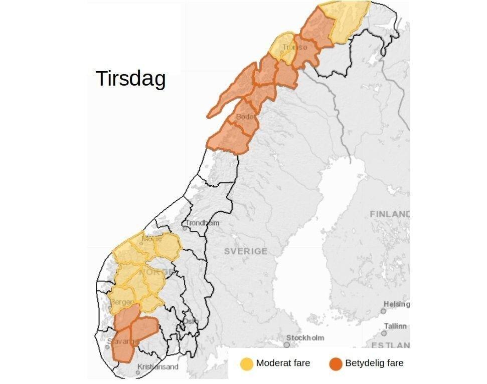 Klikk på bildet for å forstørre. SNØSKREDFARE: NVE har ute varsel om moderat til betydelig snøskredfare i store deler av Norge tirsdag. Sjekk oppdatert oversikt på varsom.no.