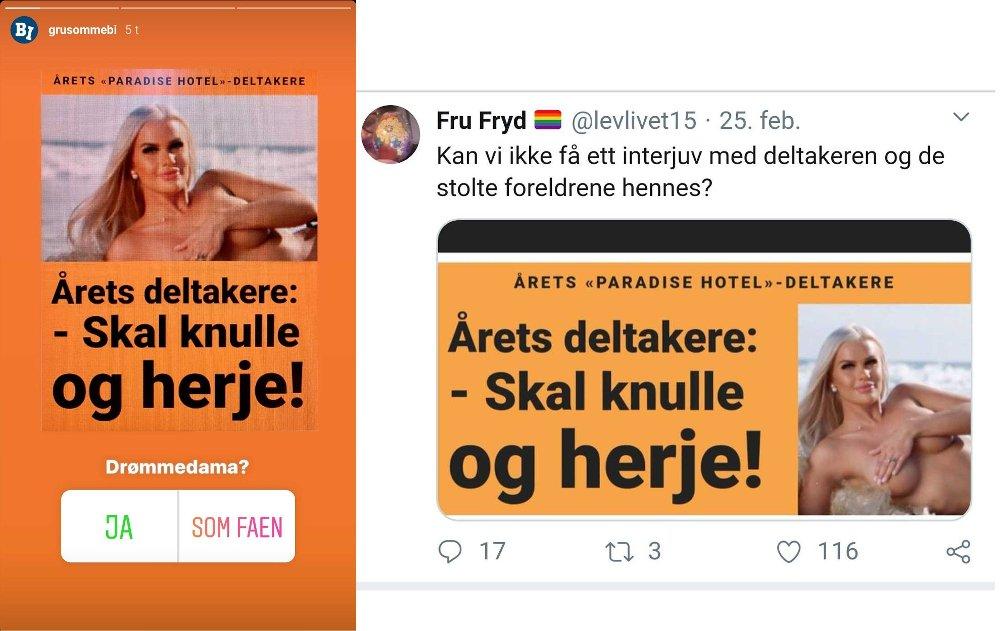 Klikk på bildet for å forstørre. Skjermbilder av Dagbladet-oppslaget ble spredt på sosiale medier, blant annet Instagram-siden grusommebi, som har nær 30.000 følgere.