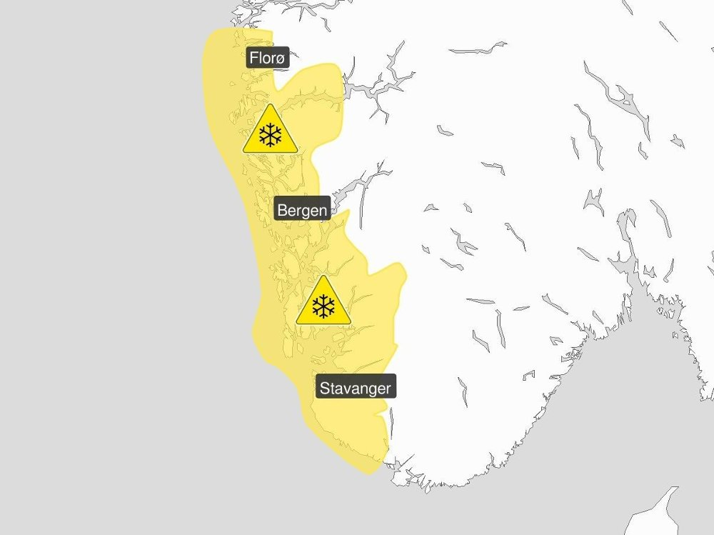 Klikk på bildet for å forstørre. MYE SNØ: Gult farevarsel for Vestlandet sør for Stad gjelder for torsdag og fredag.
