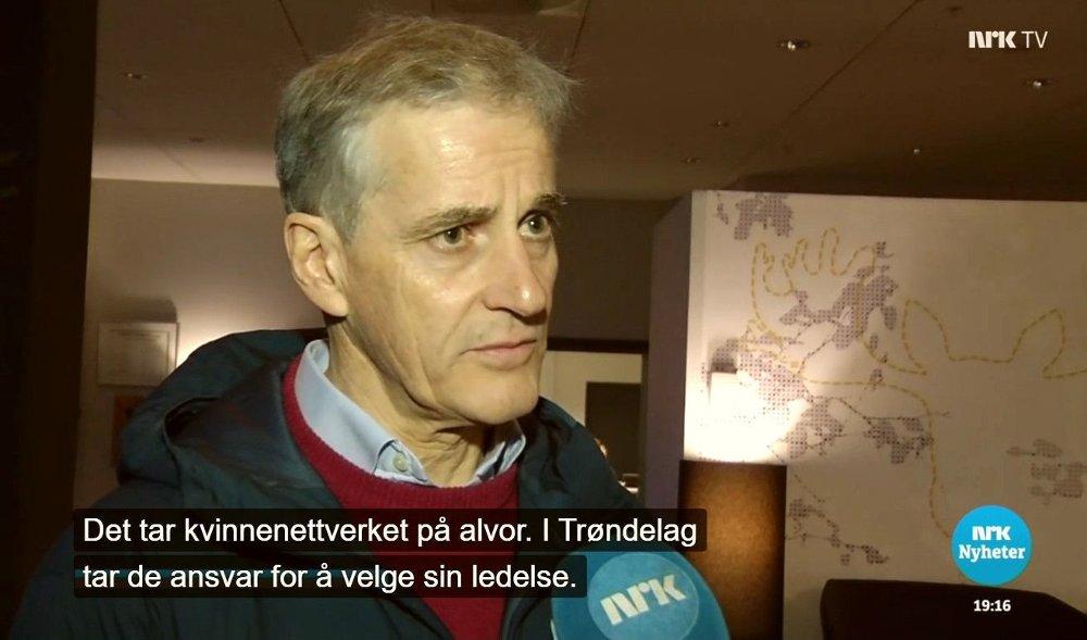 Klikk på bildet for å forstørre. Arbeiderpartiets leder Jonas Gahr Støre på NRK Dagsrevyen