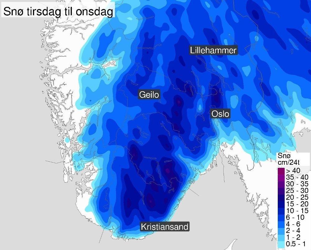 Klikk på bildet for å forstørre. SNØ I VENTE: Slik ser nedbørsvarselet ut for Sør-Norge tirsdag til onsdag.