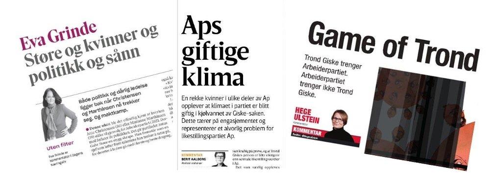 Klikk på bildet for å forstørre. Flere kommentarer i Oslo-avisene er lite glade for at Trond Giske kan gjøre comeback i Trøndelag: Eva Grinde, Berit Aalborg og Hege Ulstein.