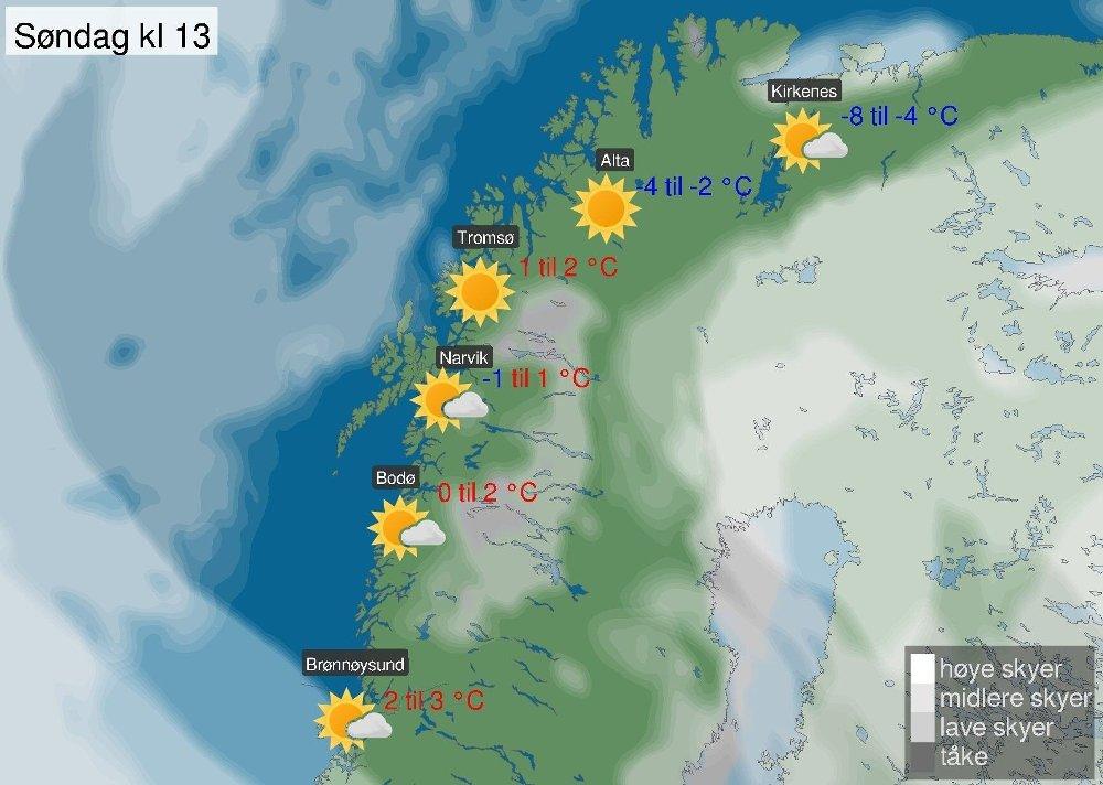 Klikk på bildet for å forstørre. OPPHOLD OG SOL: Det ligger an til en solfylt søndag i Nord-Norge på varselet fra Meteorologisk institutt.