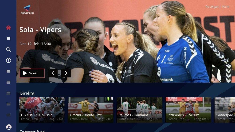 Klikk på bildet for å forstørre. Slik ser smart-tv appen til Nettavisen Direktesport.