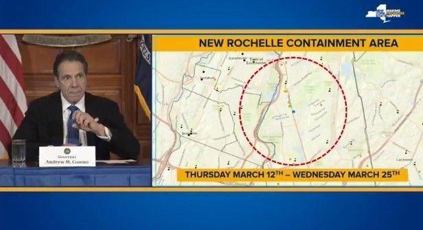 Klikk på bildet for å forstørre. New Yorks guvernør Andrew Cuomo fortalte på tirsdag at de innfører et containment area, en karantene, rundt New Rochelle, nord for New York city. Her er det hele 100 tilfeller av bekreftet korona-virus.