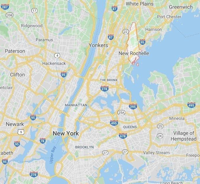 Klikk på bildet for å forstørre. New Rochelle ligger like nord for New York City.