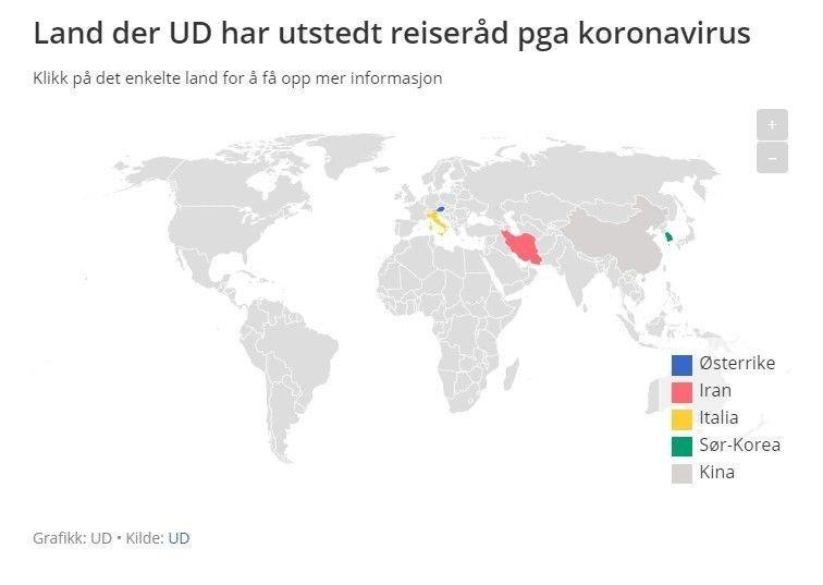 Klikk på bildet for å forstørre. Dette er landene som UD nå fraråder deg til å reise til.