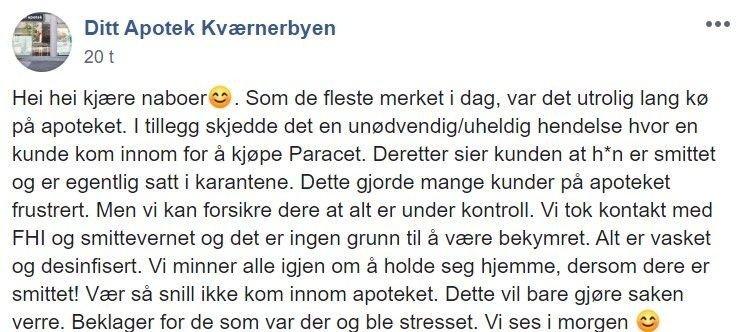 Klikk på bildet for å forstørre. GA BESKJED: Apoteket ga folk i nærområdet beskjed om at det var en smittet person innom apoteket.
