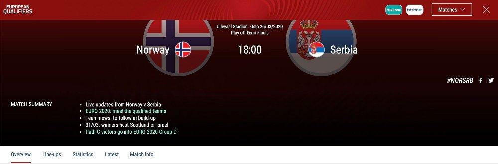 Klikk på bildet for å forstørre. OPPFØRT: Kampen mellom Norge og Serbia skal fortsatt gå av stabelen, melder UEFA på sine sider.