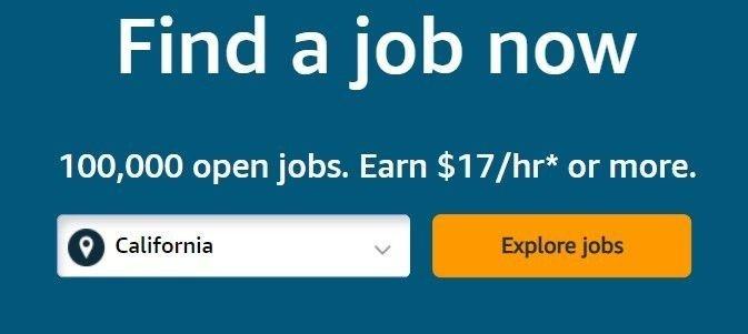 Klikk på bildet for å forstørre. Amazon har også langt ut en lenke der man kan klikke seg inn for å søke på jobbene.