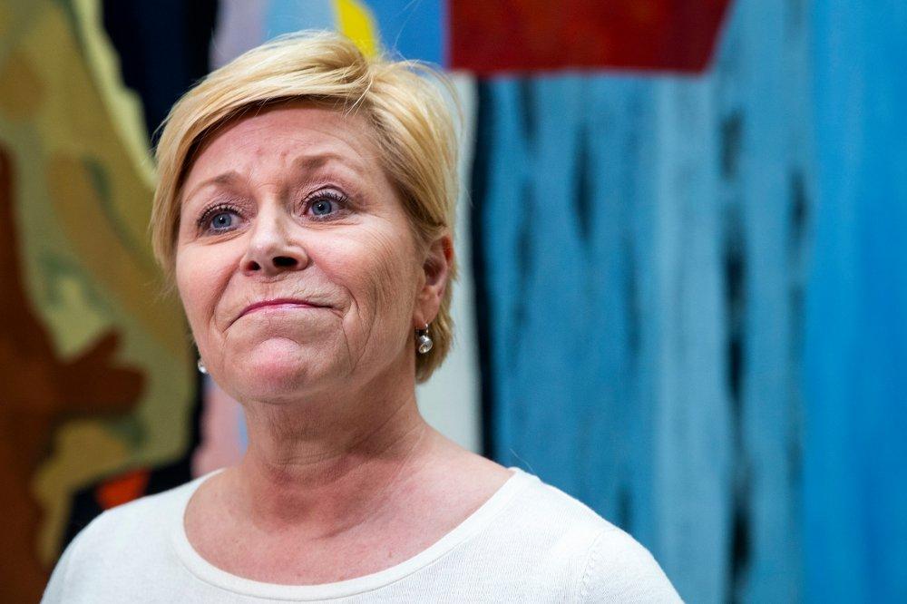 Klikk på bildet for å forstørre. Frp-leder Siv Jensen er i koronakarantene i en ukes tid.