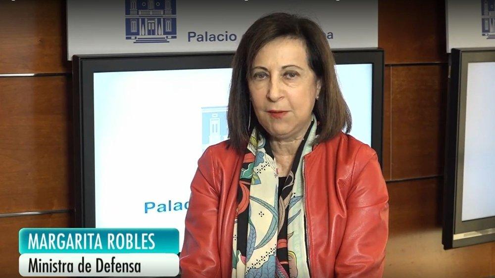 Klikk på bildet for å forstørre. TORDNET: Margarita Robles fortalte Spanias befolkning om de grusomme tilstandene militæret avdekket. Bilde: Telecinco.es