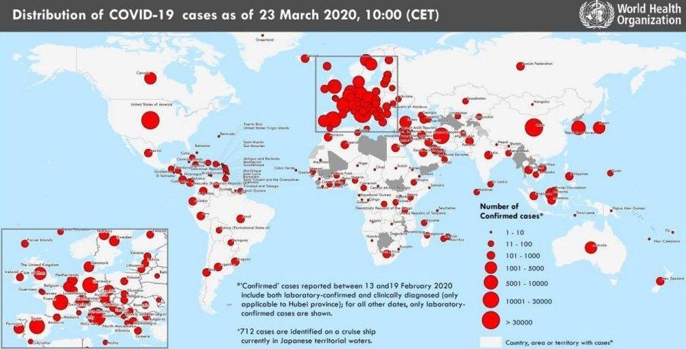Klikk på bildet for å forstørre. Verdenskart som viser at titusener av mennesker har allerede dødd av koronaviruset som ble spredt fra Kina.