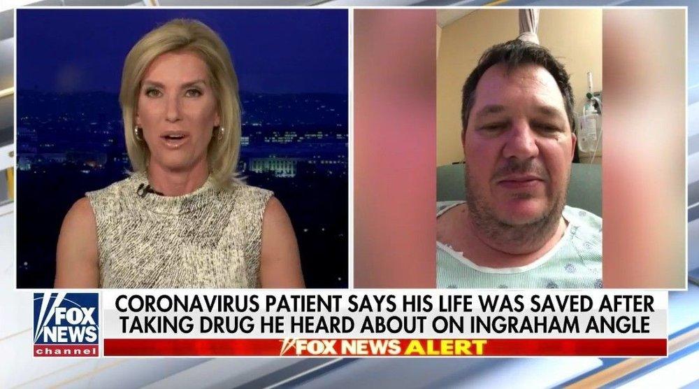 Klikk på bildet for å forstørre. Her blir Rio Giardinieri intervjuet på Fox av Laura Anne Ingraham, en amerikansk konservativ TV-vert, som leder programmet The Ingraham Angle. Det var på dette TV-showet at 52-åringens venn først hørte om at malariamedisin ble vurdert til behandling av koronaviruset.