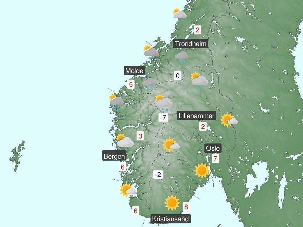 Klikk på bildet for å forstørre. PROGNOSE: På Østlandet blir det sol og lenger vest blir det bygevær, varslet Meteorologisk institutt torsdag i en kort oppsummering av prognosene for helga.