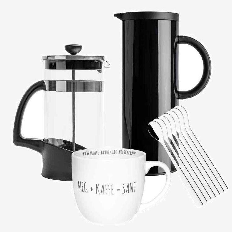 Klikk på bildet for å forstørre. Kaffepakken inneholder termokanne, presskanne, kaffeskjeer og koppen