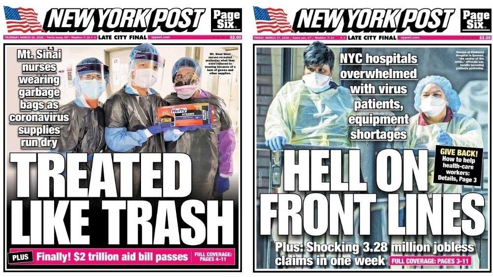 Klikk på bildet for å forstørre. New York er hardt rammet av koronaviruset. Her er forsiden på New York Post torsdag og fredag.