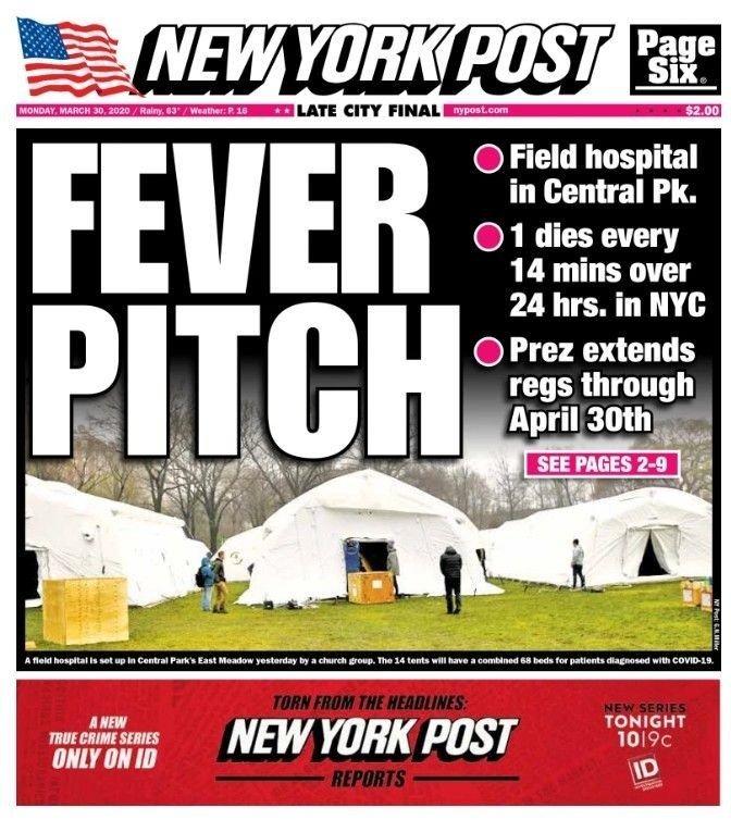 Klikk på bildet for å forstørre. Her er forsiden til NY Post på mandag. Det siste døgnet døde det en person av viruset hvert 14. minutt i New York.