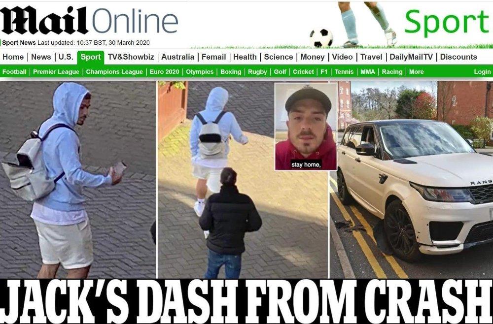 Klikk på bildet for å forstørre. AVSLØRT? Daily Mail sitter på bilder de mener avslører at Jack Grealish forlater stedet etter å ha krasjet bilen sin.