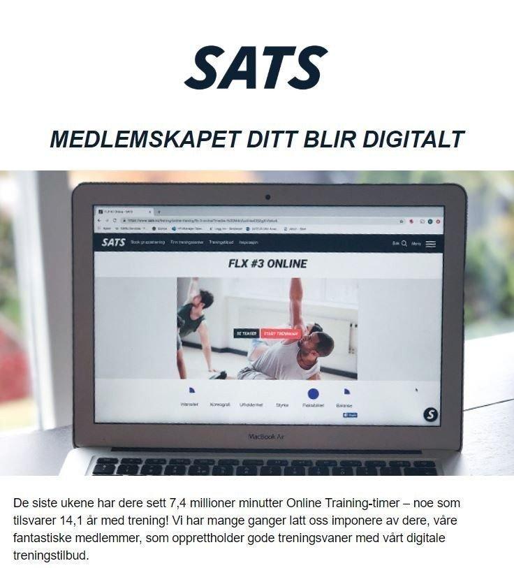 Klikk på bildet for å forstørre. DIGITALT: I en e-post denne uken fikk SATS_medlemmer beskjed om at medlemskapet deres automatisk blir digitalt.