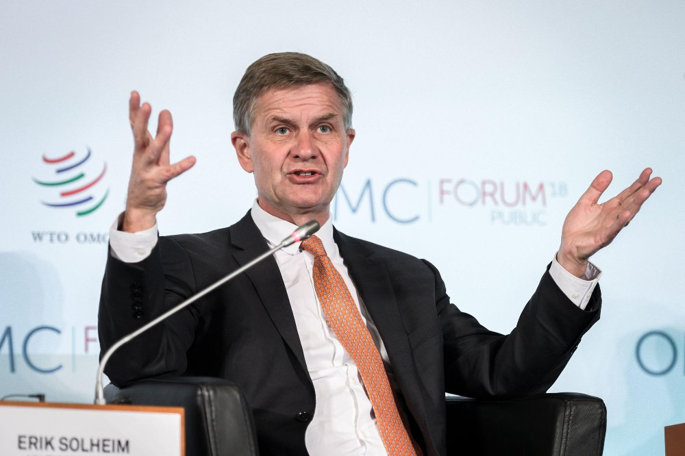 Klikk på bildet for å forstørre. United Nations Under-Secretary-General for environment Erik Solheim speaks during the opening debate of the 2018 edition of the World Trade Organisation