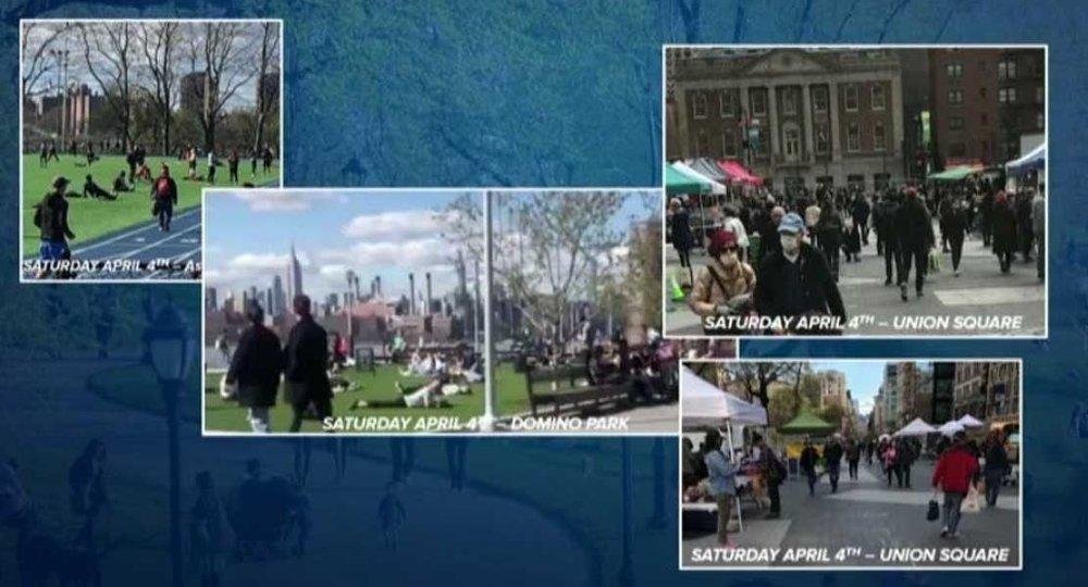 Klikk på bildet for å forstørre. Bildene Andrew Cuomo viste frem ble tatt i Domino Park i Brooklyn, Union Square på Manhattan og Astoria Park i Queens i helgen.