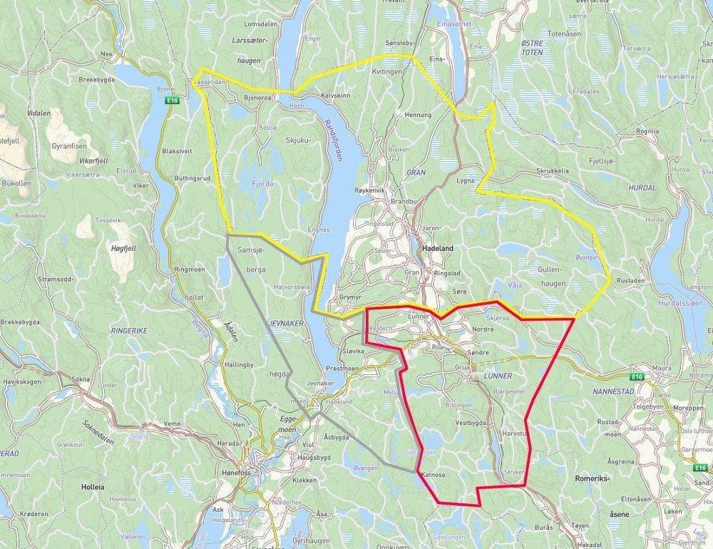 Klikk på bildet for å forstørre. De tre Hadelands-kommunene Gran . Rett øst ligger Gardermoen, til vest ligger Ringerike - og sørover er Oslo.