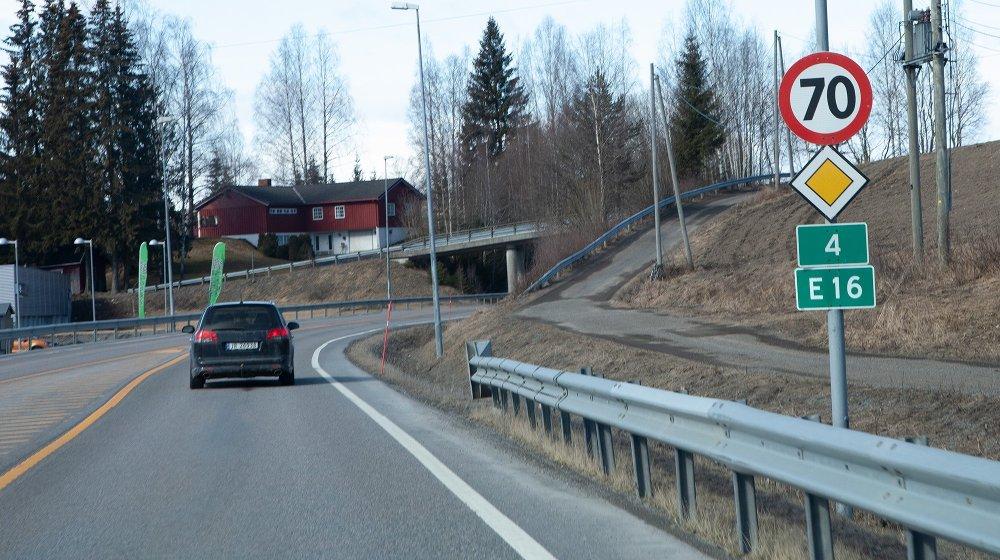 Klikk på bildet for å forstørre. Deler av veien er både Rv 4 og E16.