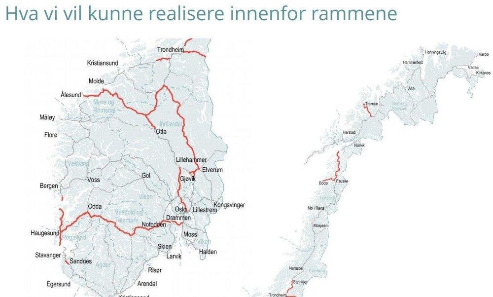 Klikk på bildet for å forstørre. Dette er veiene Nye Veier spiller inn som anbefalinger når nye Nasjonal Transportplan skal lages.