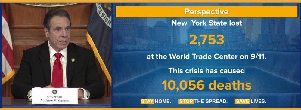 Klikk på bildet for å forstørre. Over 10.000 personer er nø døde som en følge av koronaviruset i New York. Til sammenligning døde 2,753 amerikanere under terrorangrepet i New York.