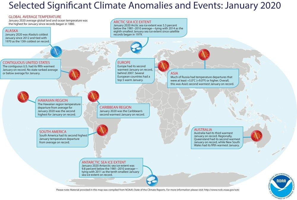 Klikk på bildet for å forstørre. Det ble satt flere temperaturrekorder i januar 2020.