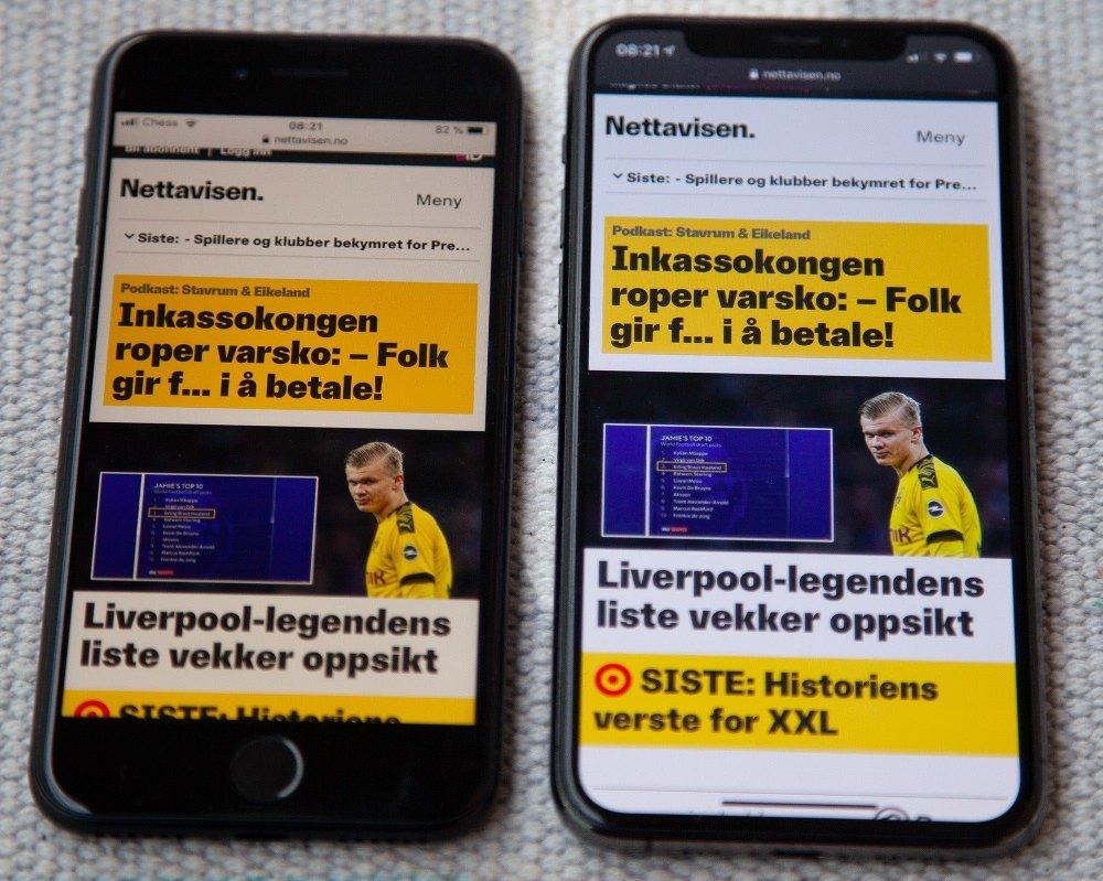 Klikk på bildet for å forstørre. Det er mye rammer på iPhone SE, men ellers den samme brukeropplevelsen.