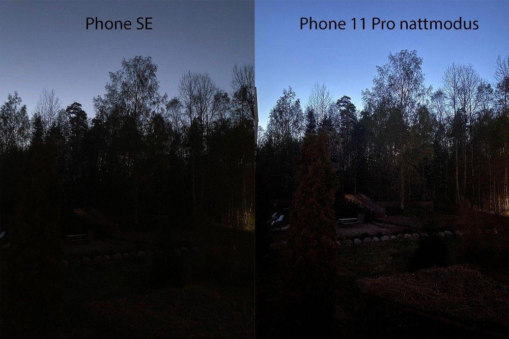 Klikk på bildet for å forstørre. iPhone SE og 11 Pro sent på kvelden.