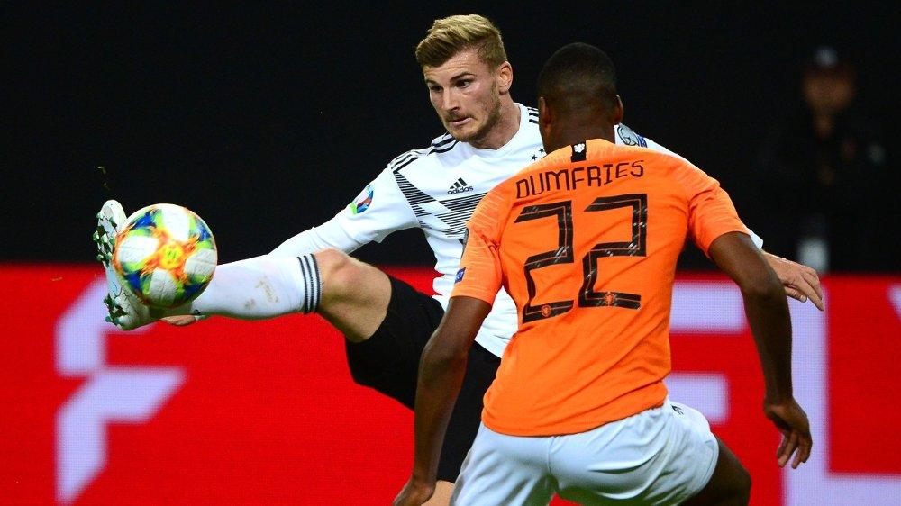Klikk på bildet for å forstørre. LIVERPOOL NESTE? Timo Werner kobles stadig til en overgang til Liverpool. Her er tyskeren i aksjon for Tyskland mot Nederland.