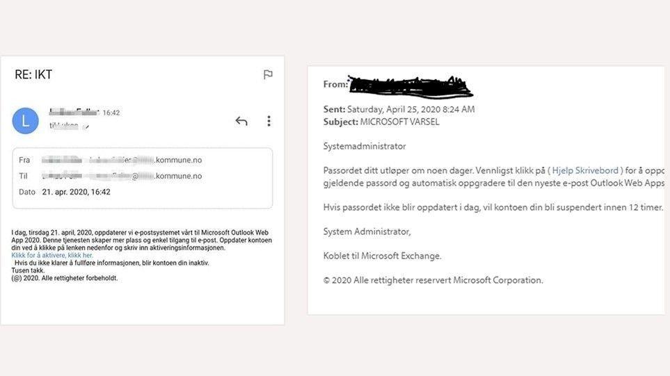 Klikk på bildet for å forstørre. FALSKE MELDINGER: Slik kan de falske meldingene og epostene se ut, ifølge Norsis.