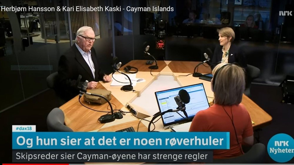 Klikk på bildet for å forstørre. DEBATT BLIR SANG: Reder Herbjørn Hansson og SV-politiker Kari Elisabeth Kaski braket sammen i Dagsnytt 18. Debatten ble plukket opp av Songar frå Nyheitene.