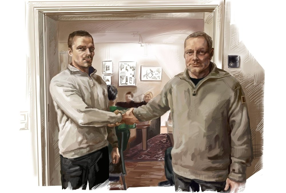 Klikk på bildet for å forstørre. Bildet viser Eskil Nielsen (t. v.) og Tommy Nyberg som gir hverandre vikinghilsen ved at den ene hånden tar tak i den andres underarm. Bildet gjengis som tegning av kildevernhensyn.