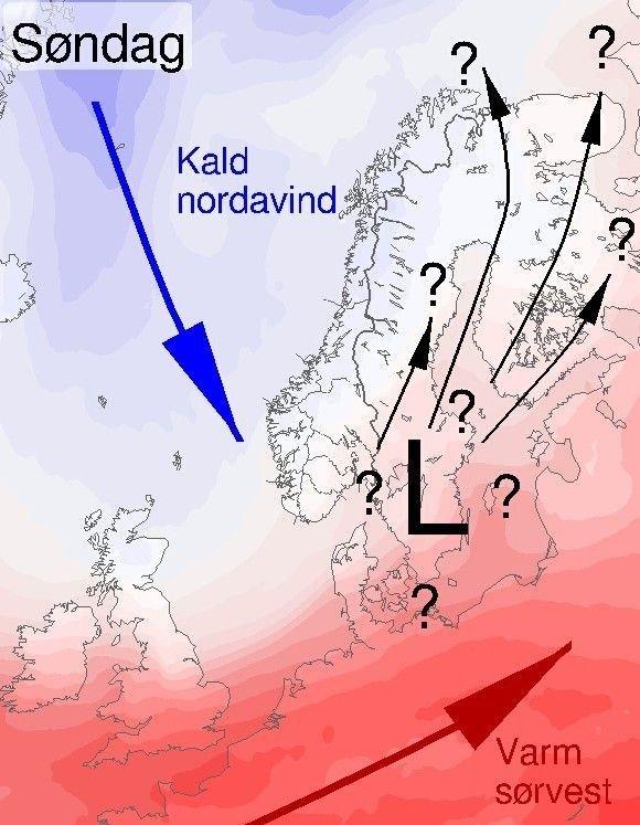 Klikk på bildet for å forstørre. KALD HELG: Til helgen blir det kaldt, ifølge Meteorologisk institutt. Hva som skjer neste uke, er derimot høyst uklart. Det kommer an på styrken på lavtrykket og hvor det tar veien.