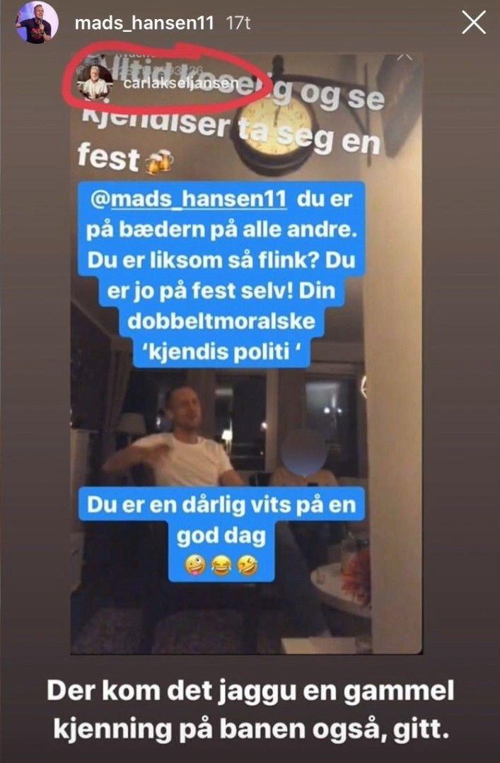 Klikk på bildet for å forstørre. «PÅ BÆDERN»: Carl Aksel Jansen la ut følgende bilde av Mads Hansen, som skal vise sistnevnte i festlig lag.