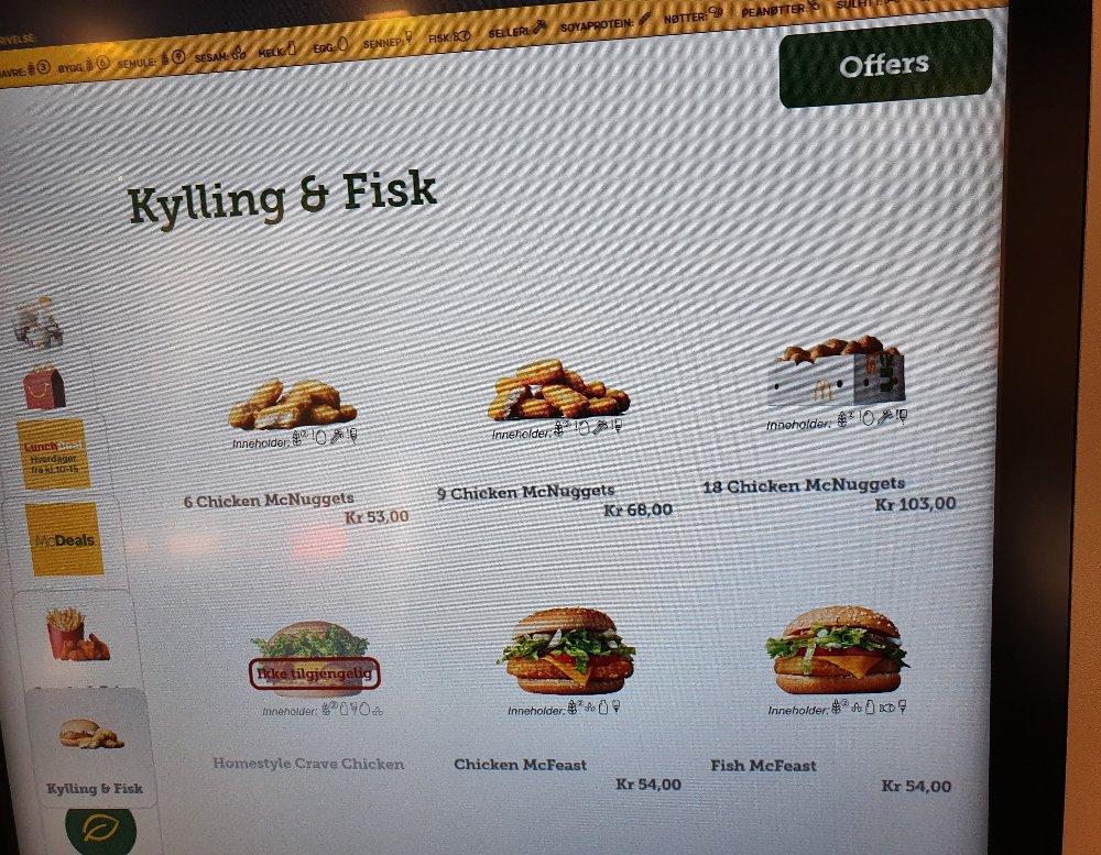 Klikk på bildet for å forstørre. Slik ser bestillingsskjermen ut hos McDonald's Nedre Slottsgate. For å finne fire nuggets må man trykke på «Snacks & Fries» til venstre i bildet.