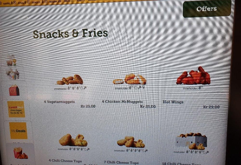 Klikk på bildet for å forstørre. Under «Snacks & Fries» på bestillingsskjermen finner man fire nuggets til 25 kroner.