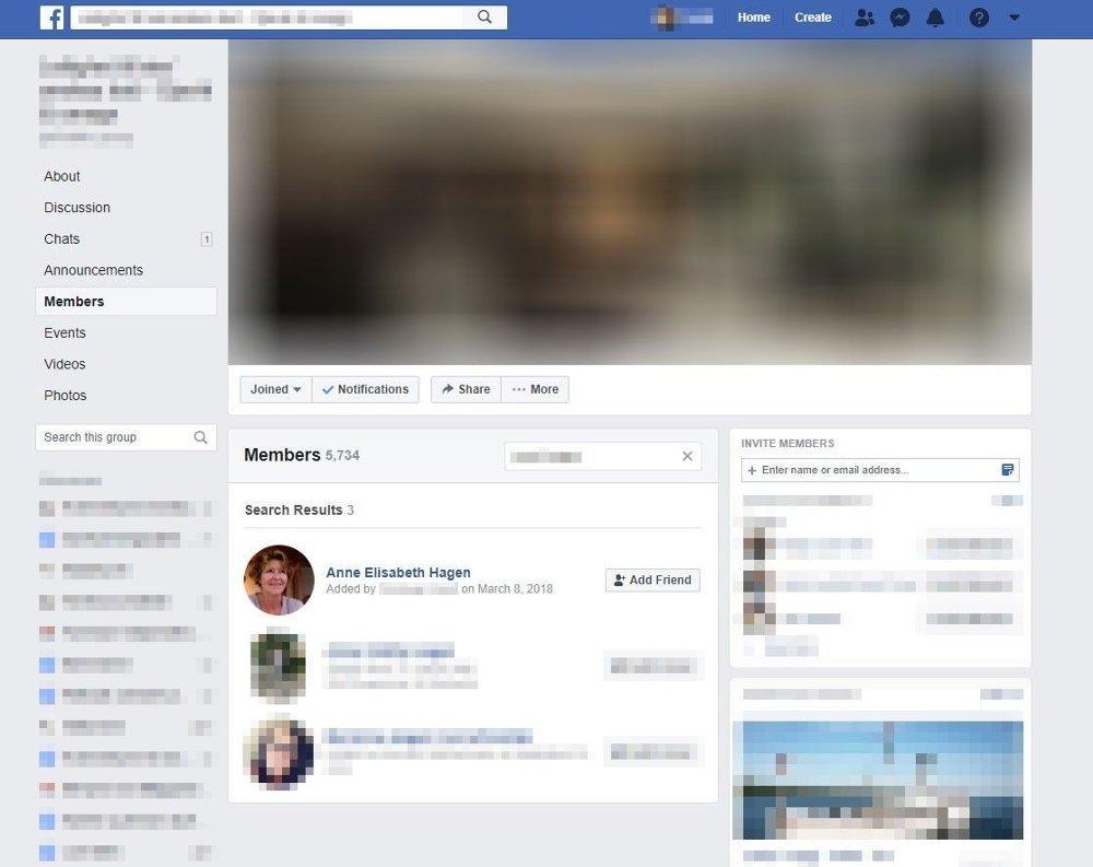 Klikk på bildet for å forstørre. Bilde av skjermdump fra Facebook som er sladdet. Anne-Elisabeth Hagen ble lagt til en Facebook-gruppe i mars 2018. Politiet undersøker om dette kan ha noe med forsvinningssaken å gjøre.