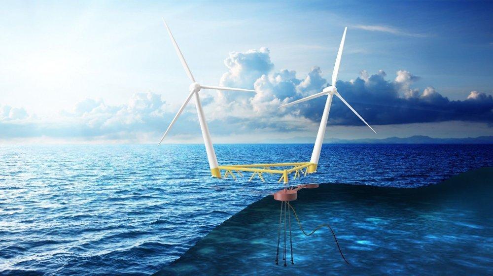 Klikk på bildet for å forstørre. Svenske Hexicon utvikler flytende vindparker, og designet legger til rette for flere vindturbiner på én plattform.
