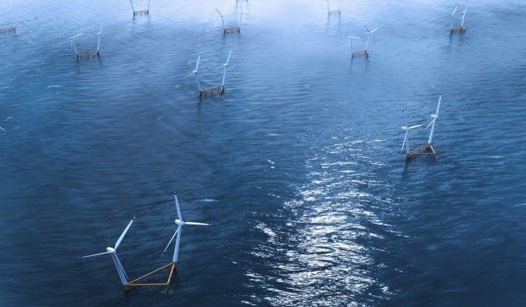 Klikk på bildet for å forstørre. Vindparkene til svenske Hexicon kan plasseres lengre ute til havs enn bunnfaste installasjoner. Den flytende teknologien gjør at turbinene kan forflytte seg etter hvordan vinden blåser for å maksimere effekten.