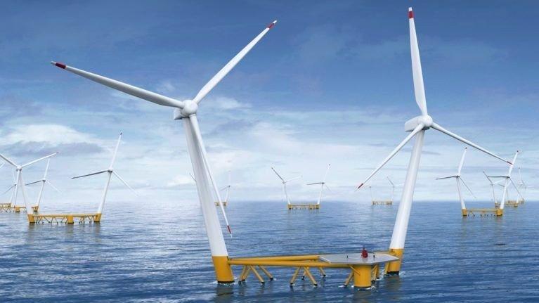 Klikk på bildet for å forstørre. Med to turbiner per flytende plattform, økes energieffektiviteten. Hexagon har som mål å eksportere vindparkene til hele verden, og har i dag prosjekter i Spania, Portugal, Sør-Korea og Scotland, i tillegg til den ferske avtalen i Sør-Afrika.