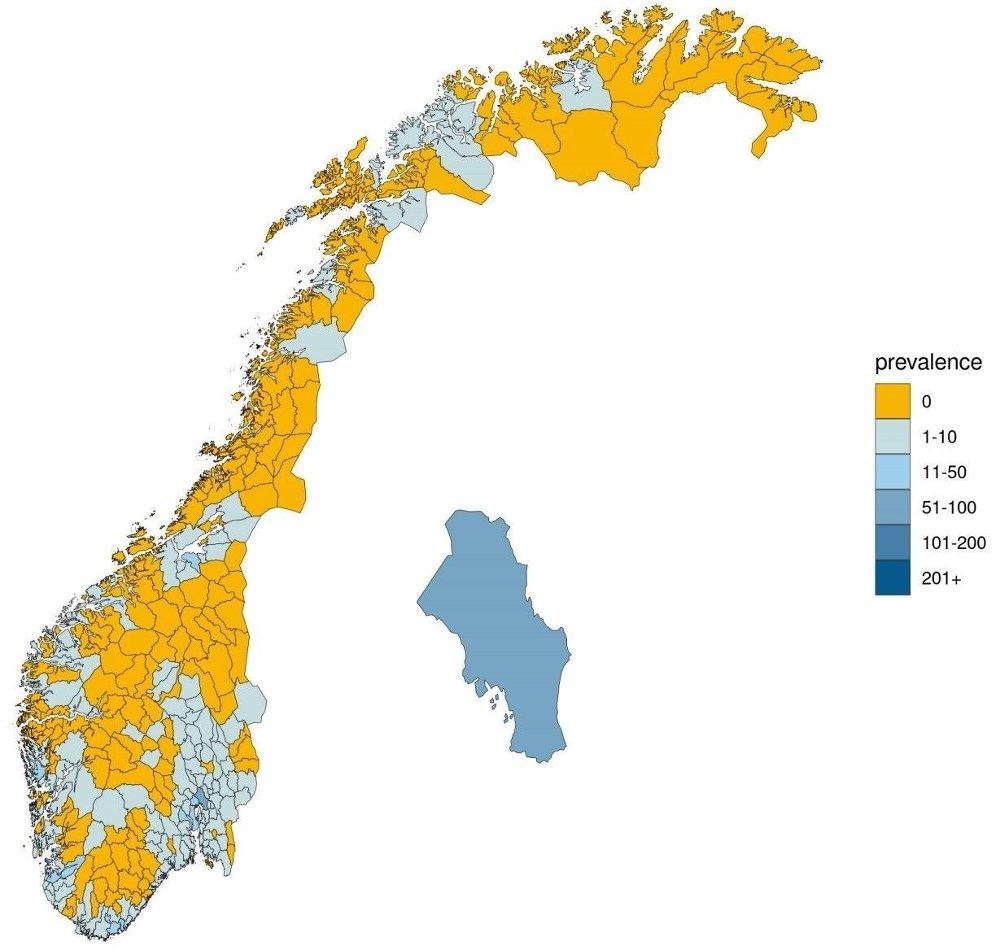 Klikk på bildet for å forstørre. Så mange syke tror Folkehelseinstiuttet det er i norske kommuner.
