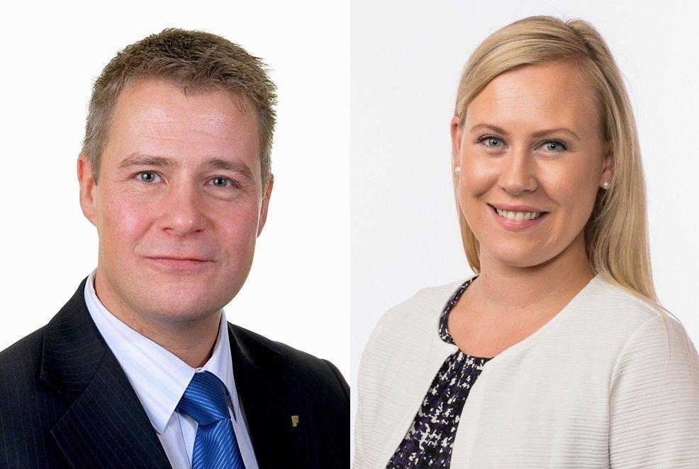 Klikk på bildet for å forstørre. PÅ SAMME PARTI: Fremskrittspartiets Per-Willy Amundsen og Arbeiderpartiets Lene Vågslid er på samme lag i domstolpolitikken.