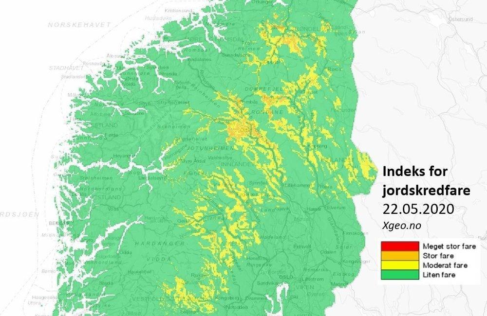 Klikk på bildet for å forstørre. Det er fredag sendt ut varsel om jord-, sørpe- og flomskredfare, gult nivå for høyereliggende strøk i Sør-Norge og sørlige deler av Trøndelag .