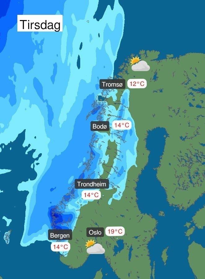 Klikk på bildet for å forstørre. Skyer med nedbør ventes tirsdag inn langs kysten av Vestlandet og i deler av Nor-Norge.